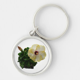 Big Hibiscus Flower with foliage Silver-Colored Round Keychain