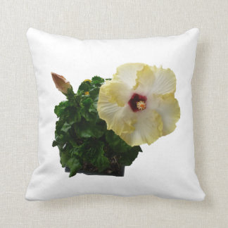 Big Hibiscus Flower with foliage Throw Pillow