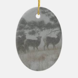 Big Horn Kid in the Snowstorm Ceramic Ornament