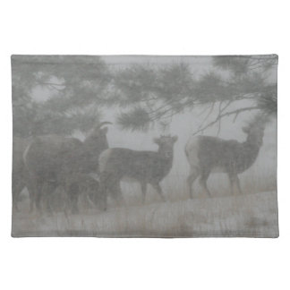 Big Horn Kid in the Snowstorm Cloth Placemat