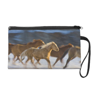 Big Horn Mountains, Horses running in the snow 2 Wristlet Purse
