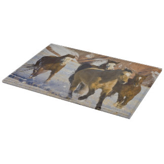 Big Horn Mountains, Horses running in the snow 3 Cutting Boards