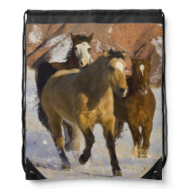Big Horn Mountains, Horses running in the snow 3 Drawstring Backpack