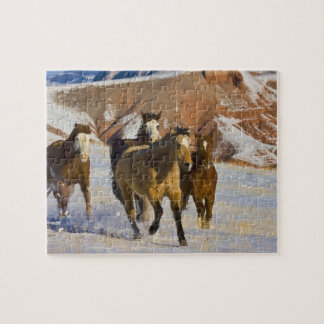 Big Horn Mountains, Horses running in the snow 3 Jigsaw Puzzle