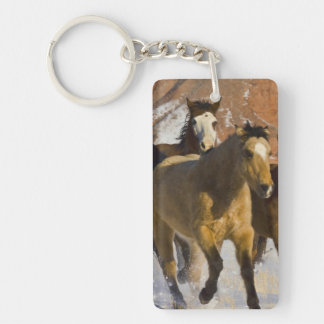 Big Horn Mountains, Horses running in the snow 3 Keychain