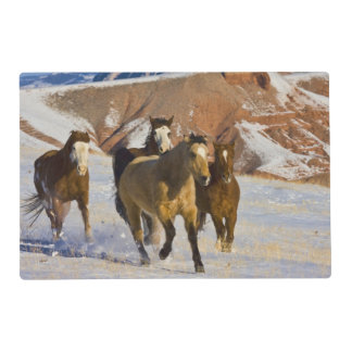 Big Horn Mountains, Horses running in the snow 3 Placemat