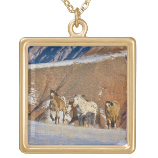 Big Horn Mountains, Horses running in the snow Gold Plated Necklace