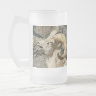 Big Horn Sheep Laughing Frosted Glass Beer Mug