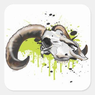 Big Horn Sheep Skull Square Sticker