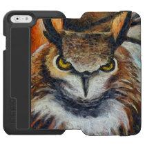 Big Horned Grumpy Owl iPhone 6/6s Wallet Case