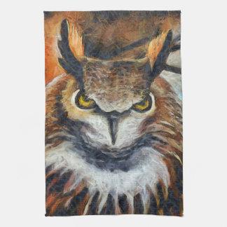 Big Horned Grumpy Owl Kitchen Towel