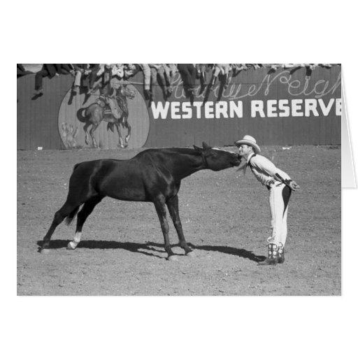 Big Horse Kiss, 1940 Greeting Card