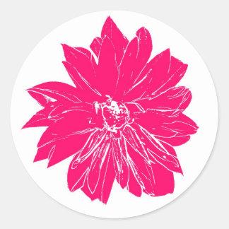 Big hot pink flower round sticker