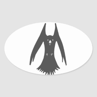 Big Hovering Crow on Multiple products Oval Sticker