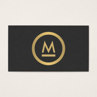 Big Initial Modern Monogram in Faux Gold Business Card