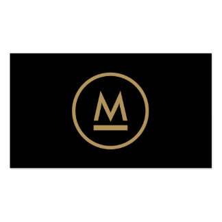 Big Initial Modern Monogram in Gold on Black Double-Sided Standard Business Cards (Pack Of 100)