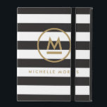 """Big Initial Modern Monogram on Bold Stripes iPad Folio Case<br><div class=""""desc"""">Coordinates with the Big Initial Modern Monogram on Bold Stripes Business Card Template by 1201AM. Your initial is grounded with an accent line and then encircled to become a personalization on this iPad case. Set on a background of bold, alternating black and white stripes for a unique aesthetic. &#169; 1201AM...</div>"""