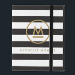 "Big Initial Modern Monogram on Bold Stripes iPad Folio Case<br><div class=""desc"">Coordinates with the Big Initial Modern Monogram on Bold Stripes Business Card Template by 1201AM. Your initial is grounded with an accent line and then encircled to become a personalization on this iPad case. Set on a background of bold, alternating black and white stripes for a unique aesthetic. © 1201AM...</div>"