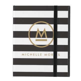Big Initial Modern Monogram on Bold Stripes iPad Folio Cases