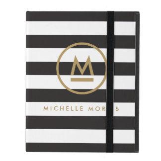Big Initial Modern Monogram on Bold Stripes iPad Folio Cases