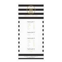 Big Initial Modern Monogram on Bold Stripes Rack Card