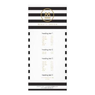 Big Initial Modern Monogram on Bold Stripes Rack Card