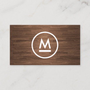 Big business cards templates zazzle big initial modern monogram on brown wood business card colourmoves