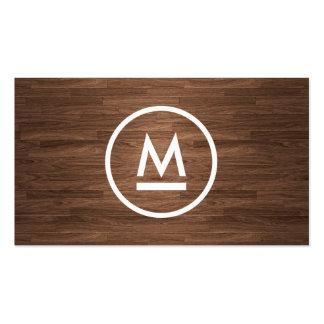 Big Initial Modern Monogram on Brown Wood Business Card