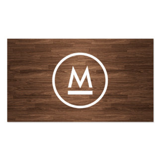 Big Initial Modern Monogram on Brown Wood Double-Sided Standard Business Cards (Pack Of 100)