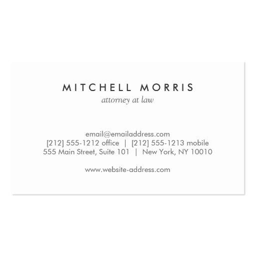 Big Initial Modern Monogram on Gray Linen Business Cards (back side)