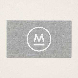 Big Initial Modern Monogram on Gray Linen Business Card