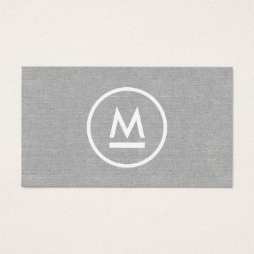 1201am Big Initial Modern Monogram on Gray Linen Business Card