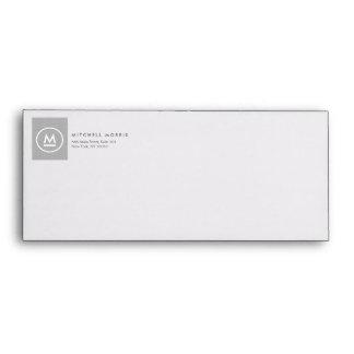 Big Initial Monogram on Gray Linen Envelope