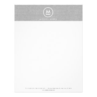 Big Initial Monogram On Gray Linen Letterhead at Zazzle