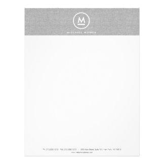 Big Initial Monogram on Gray Linen Letterhead
