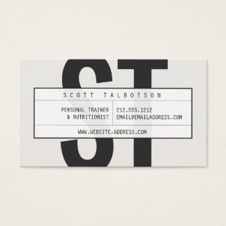 Big Initials Monogram with Vintage Grid on Lt Gray Business Card