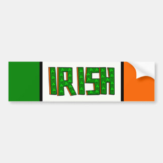 Big Irish With Shamrocks--Green, Orange, Black Bumper Sticker