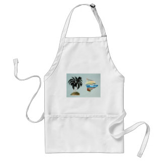 Big Island and Palm Trees Oil Painting Adult Apron