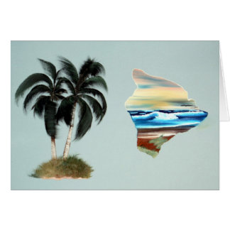 Big Island and Palm Trees Oil Painting Card