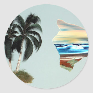 Big Island and Palm Trees Oil Painting Classic Round Sticker