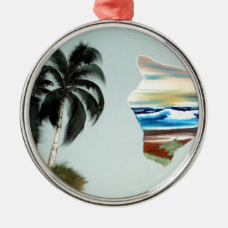 Big Island and Palm Trees Oil Painting Metal Ornament