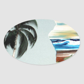 Big Island and Palm Trees Oil Painting Oval Sticker