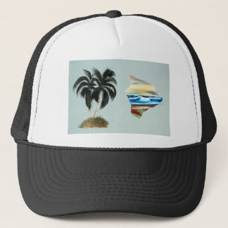 Big Island and Palm Trees Oil Painting Trucker Hat
