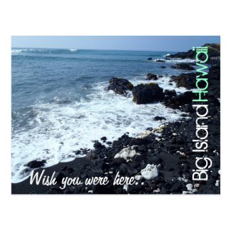 Big Island black sand beach Hawaii postcard
