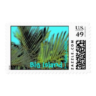 Big Island hawaii palm art postage stamp