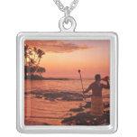 Big Island, Hawaii. Sunset, Big Island Hawaii. Square Pendant Necklace