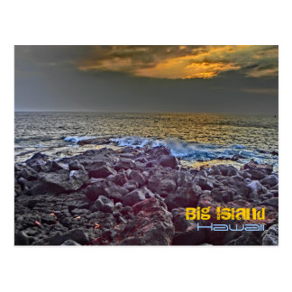 Big Island Hawaii sunset on the rocks postcard