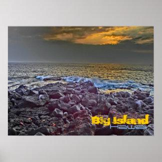 Big Island Hawaii sunset on the rocks poster