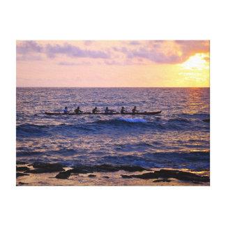Big Island Hawaiian Outrigger Canoe at Sunset Canvas Print