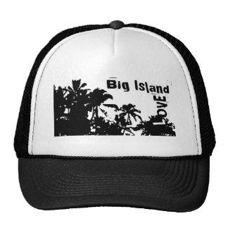 Big Island Love black white palm tree hat